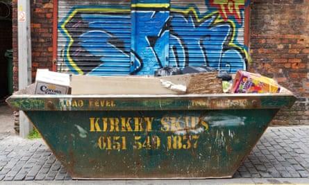 builders skip full of rubbish