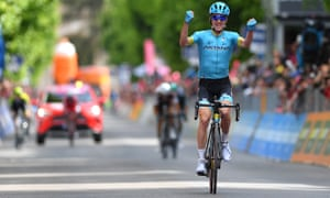 Pello Bilbao celebrates after springing clear to win stage seven.