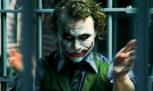 """Publicity photo of actor Heath Ledger in his role as The Joker in """"The Dark Knight"""""""