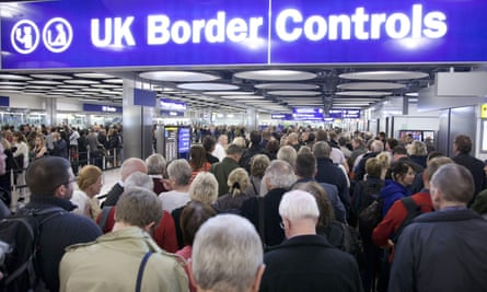 Queues at Heathrow airport in London