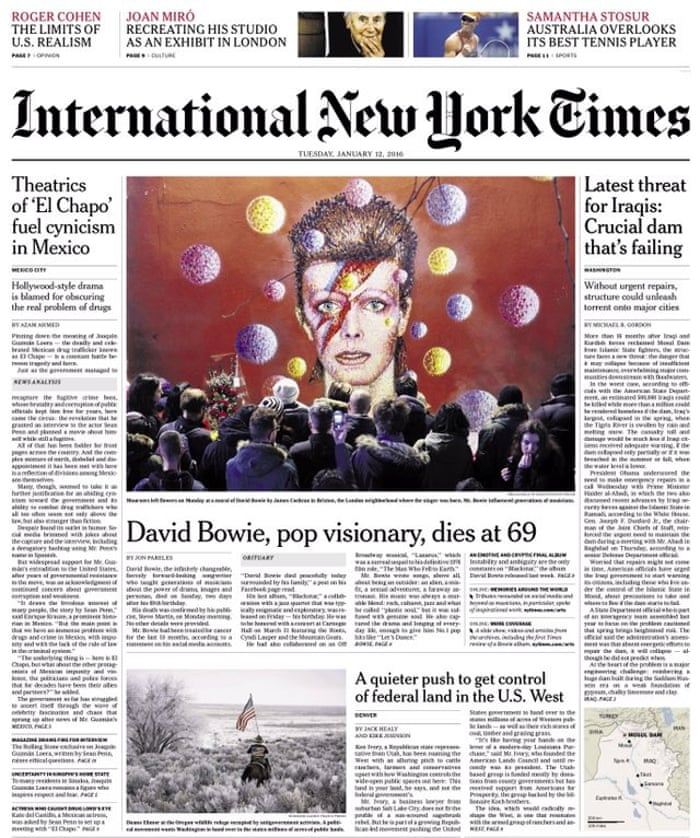How the newspapers reacted to David Bowie's death – in
