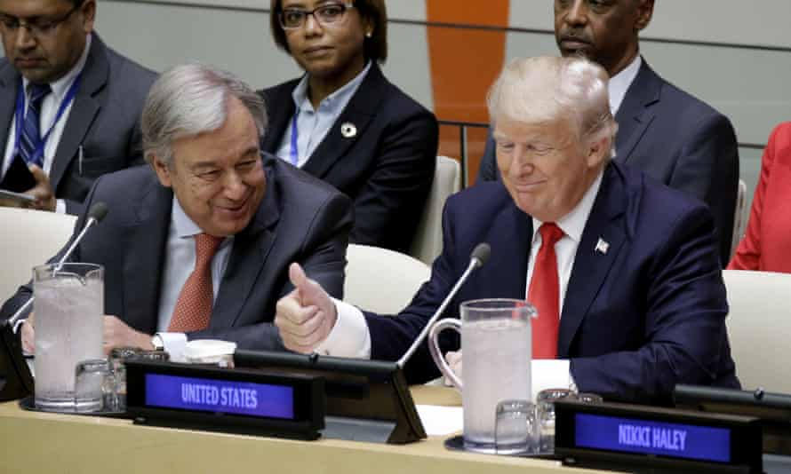 UN secretary general António Guterres beside US president Donald Trump, who made his first remarks on Monday to the general assembly.