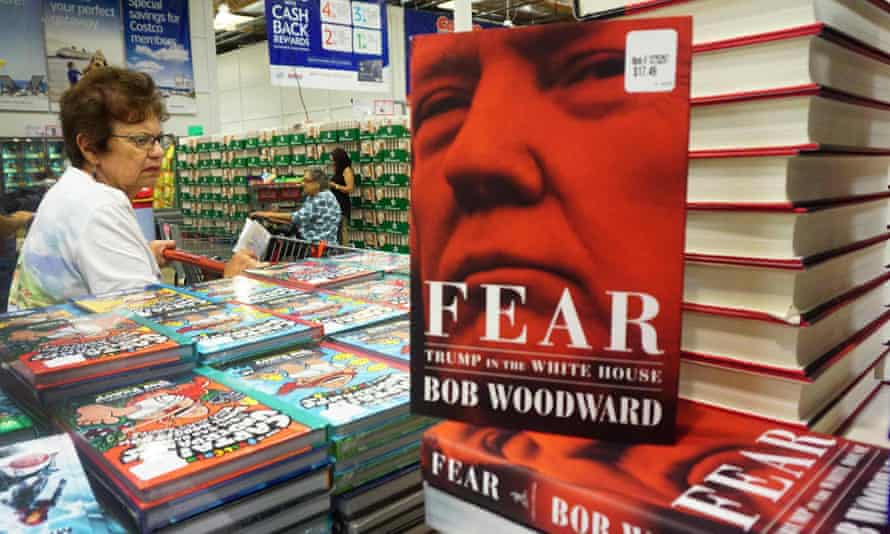 """Bob Woodward's latest book """"Fear: Trump in the White House"""" is displayed for sale upon releaase at a Costco store in Alhambra, California."""