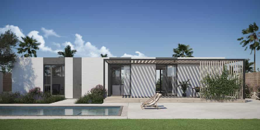 The homes will consist of multiple bedrooms, bathrooms and a pool, designed in a mid-century modern style.