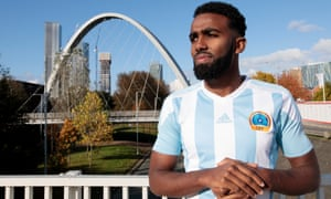 Curzon Ashton's Mohamud Al, pictured in Manchester, says: 'At the final whistle that's when we started to realise how big an achievement it was.'