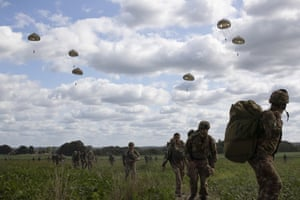 Groesbeek, Netherlands: Parachutists jump from a plane as part of commemorations marking the 75th anniversary of Operation Market Garden
