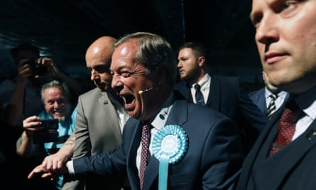 The Brexit party leader Nigel Farage, at a Brexit party rally on Tuesday.