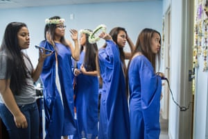 Teenagers get ready for the first Marshallese beauty contest in Springdale, Arkansas. This year's theme is climate change.