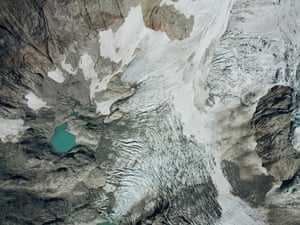 The top view of the Donne Glacier which descends down on the east face of Mount Tutoka, south-west New Zealand. This glacier has been undergoing rapid retreat for decades and in 2000 a new unnamed alpine lake was formed