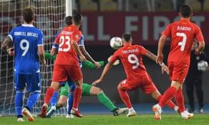 Macedonia's Aleksandar Trajkovski opens the scoring.