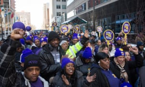 An Airport Workers United/SEIU protest in New York City in October 2018.
