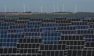 A wind farm and solar plant at Abaste's El Bonillo in Albacete, Spain.