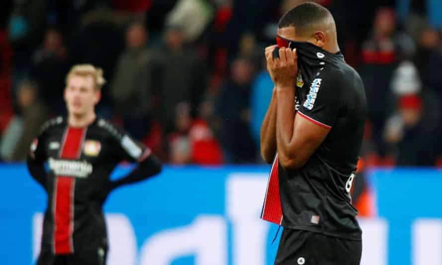 Bayer Leverkusen's Jonathan Tah reacts during the narrow home defeat to Mönchengladbach.