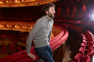 Comedian Chris Addison in the Royal Opera House in London