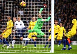 Back of the net: Dele Alli scored a header as Spurs won 3-1