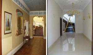 The hallway of Llanwenarth House in Monmouthshire in 2005 (left) and 2010