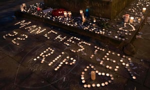 Memorial candles during a vigil in Manchester