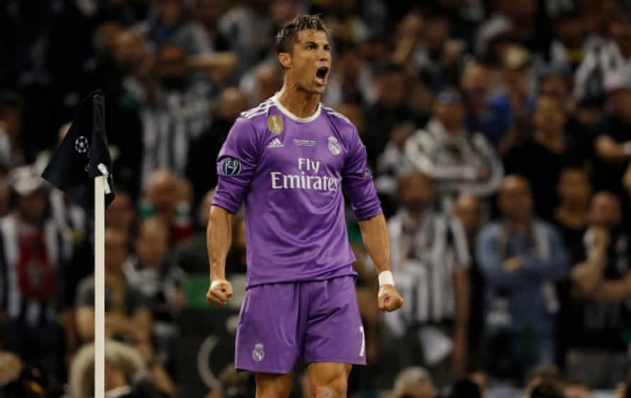 Cristiano Ronaldo celebrates opening the scoring for Real Madrid against Juventus in the Champions League final.