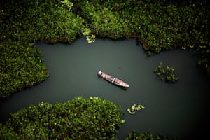 Boat on the Amazon river
