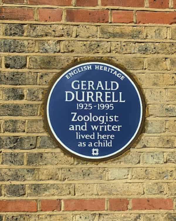Durrell's blue plaque at number 43 Alleyn Park, Dulwich.
