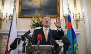 Russian ambassador to the UK Alexander Yakovenko speaking about the Salisbury poisoning at a news conference at the Russian Embassy in London in April 2018.
