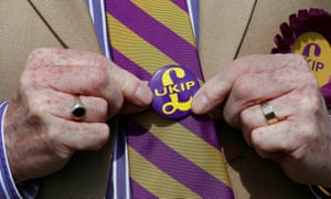 A Ukip supporter displays his colours