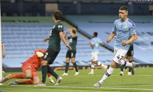 Phil Foden celebrates after scoring Manchester City's fifth goal during the comprehensive Premier League victory over Burnley.