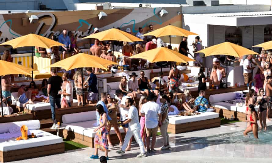 Guests on the day beds at Cali Beach club on Saturday 25 September.