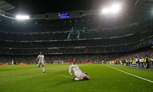 Real Madrid's Cristiano Ronaldo celebrates scoring their third goal and his hat-trick.