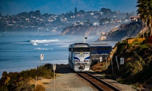 An Amtrak train on the Pacific coast rail line