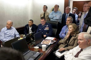 President Barack Obama and Vice-President Joe Biden, along with members of the national security team, receive an update on the mission against Osama bin Laden in the Situation Room of the White House. Also pictured are the then secretary of state, Hillary Clinton, and the defence secretary, Robert Gates. 1 May 2011.