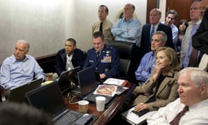 Barack Obama and the national security team receive an update on the mission to kill Osama bin Laden in May 2011.