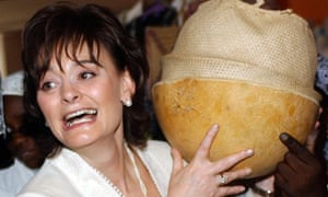Cherie Blair during a visit to market stalls at the Nigerian National Women's Centre in Abuja, in 2006,
