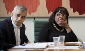 Mayor of London Sadiq Khan and shadow home secretary Diane Abbott at a crime summit this month.