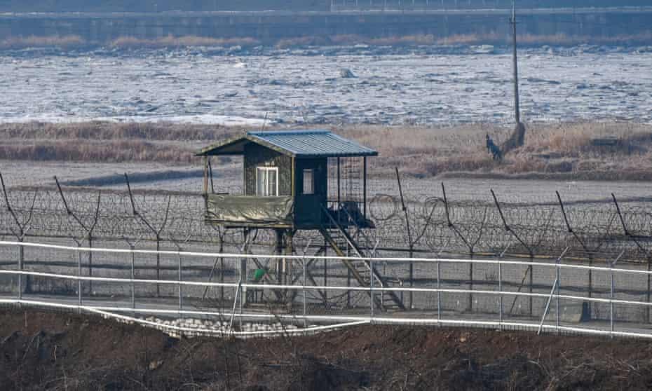 A South Korean military guard post is seen through a fence near the DMZ at Imjingak Park