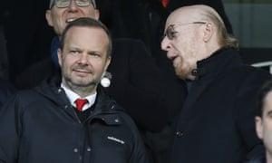 Ed Woodward and Avram Glazer attend a Manchester United game last season.