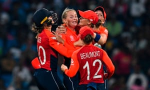 Sophie Ecclestone (centre) of England celebrates a wicket in the final of the T20 World Cup in Antigua.