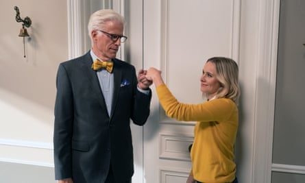 'A show that holds a mirror up to our stupid selves' ... Ted Danson as Michael and Kristen Bell as Eleanor in The Good Place.