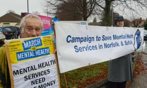 Protesters outside Hellesdon hospital, Norwich, on ednesday.