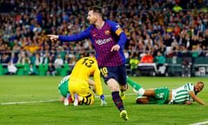 Lionel Messi celebrates scoring