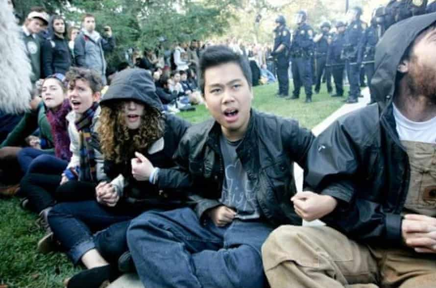 Ian Lee during the UC Davis protests.