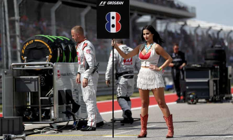 A grid girl at the US Formula One grand prix in 2016.