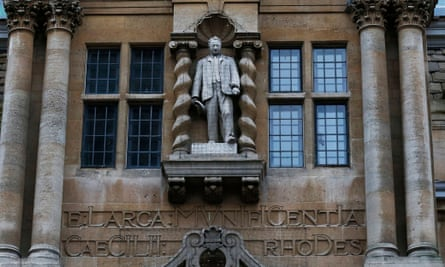 A statue of Cecil Rhodes on the facade of Oriel College, Oxford