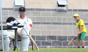 Michael Clarke waits for his turn to bat during his return to competitive cricket for Sydney grade cricket club Western Suburbs.