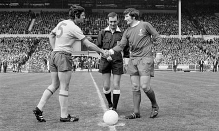 Frank McLintock and Tommy Smith shake hands before the FA Cup final on 8 May 1971.