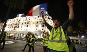 Gilet jaunes protesters on the Promenade des Anglais waterfront in Nice.