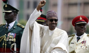 President Muhammadu Buhari salutes his supporters in 2015. In response to the plagiarism, Nigerian columnist Adeola Akinremi denounced 'the moral problem of plagiarism on a day Mr President launched a campaign to demand honesty and integrity'.