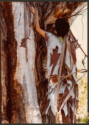 Kee wearing Jackson's Scribbly Gum outfit in the Blue Mountains, NSW, 1977.
