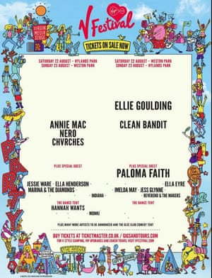 V Festival poster showing female acts