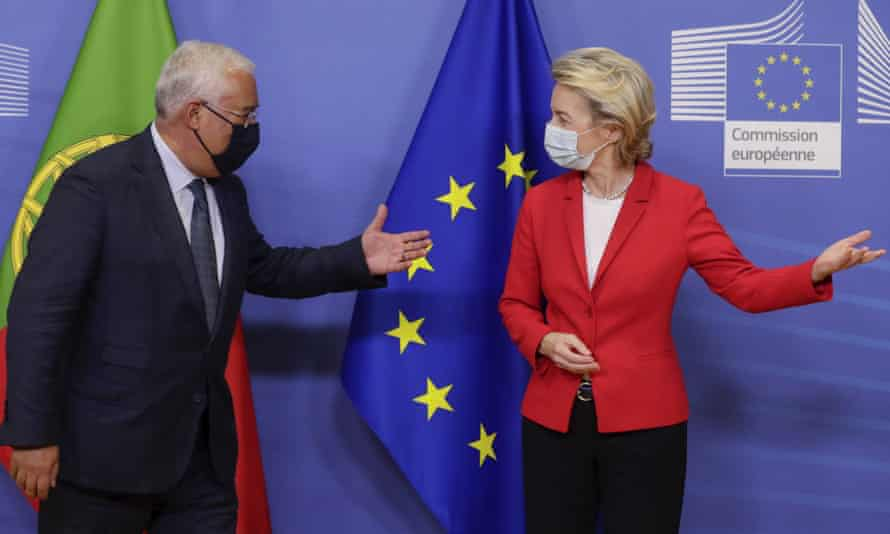Ursula von der Leyen welcomes Portugal's prime minister, António Costa, at the EU headquarters in Brussels on Tuesday